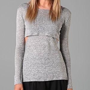 Rebecca Minkoff Jemme Top XS Gray Linen w Cut Outs